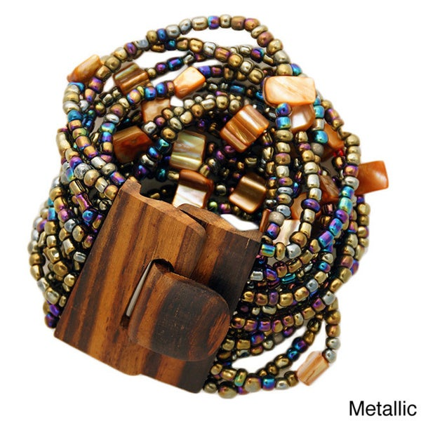 1 World Sarongs Women's Beaded Bracelet with Wood Toggle (Indonesia)