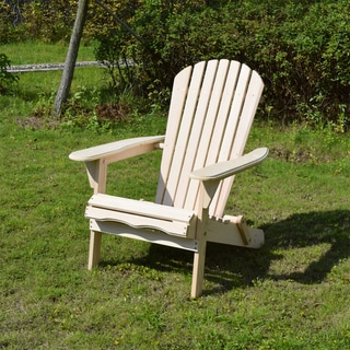 Merry Products Foldable Adirondack Natural Finish Patio Chair Kit
