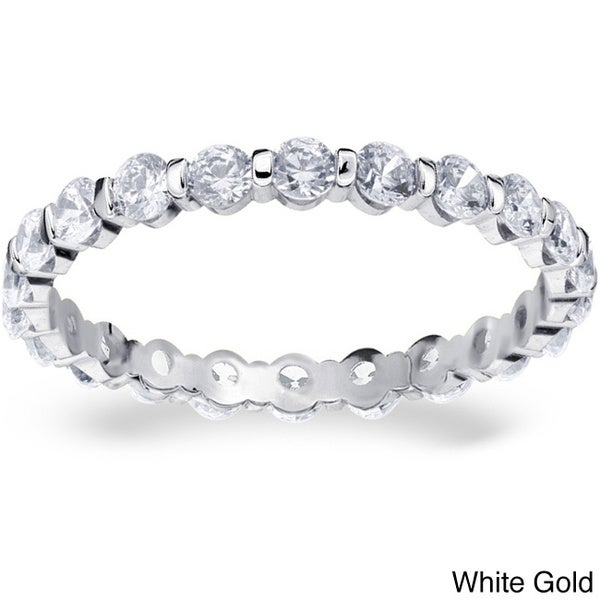 Amore 14k Gold 1ct TDW Machine-set Floating Diamond Eternity Band