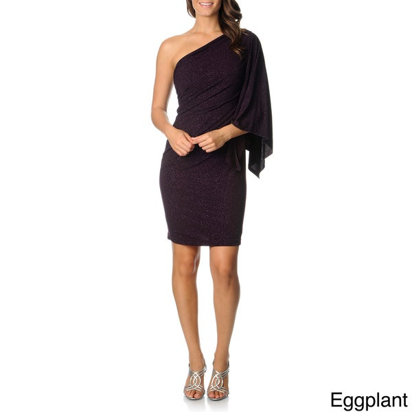 Onyx Nite Women's Glitter One Batwing Sleeve Dress