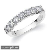 14k Gold 1ct TDW Machine-set Diamond 7-stone Wedding Band