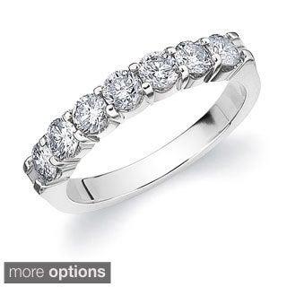 14k Gold 1ct TDW Machine-set Diamond 7-stone Wedding Band (More options available)