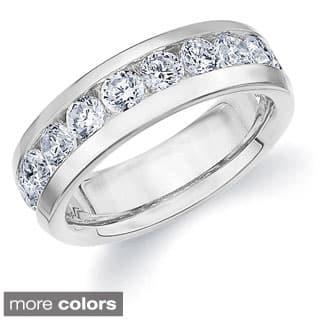Amore 14k Gold Men S 2ct Tdw Machine Set Diamond Wedding Band