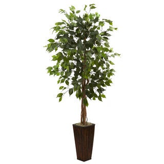 Nearly Natural 5.5 Foot Artificial Ficus Tree With Bamboo Planter