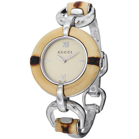 Gucci Women's 'Bamboo' Cream Dial Stainless Steel Bangle Watch