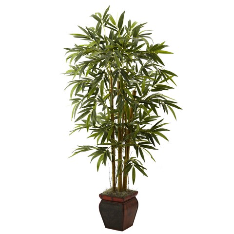 Nearly Natural 5.5-foot Bamboo Tree with Decorative Planter