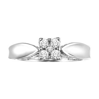 Cambridge Sterling Silver 1/5ct TDW High Polish Diamond Composite Ring