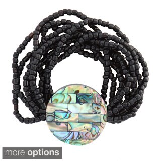 1 World Sarongs Women's Bead Bracelet with Paua Shell (Indonesia)