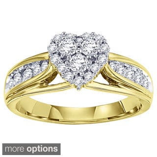 Cambridge 14k White or Yellow Gold 5/8ct TDW Heart Diamond Ring (I-J, I1-I2)