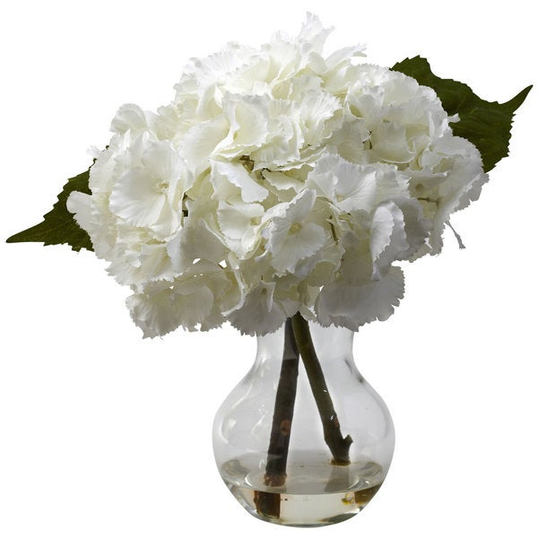 Nearly Natural Blooming Hydrangea Vase Arrangement Decorative Plant