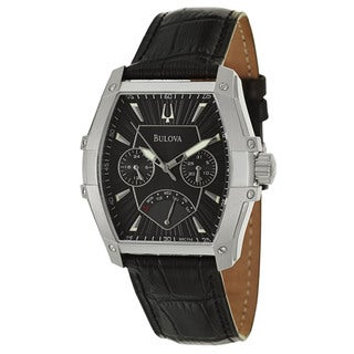 Shop Bulova Men S Black Dial Swiss Quartz Calendar Watch