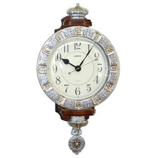Fabulous Antique Linseng Silver/ Gold Pendulum Wall Clock