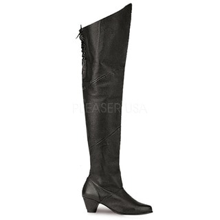 Pleaser Maiden Women's Pig Leather 2-inch Heel Thigh High Boots