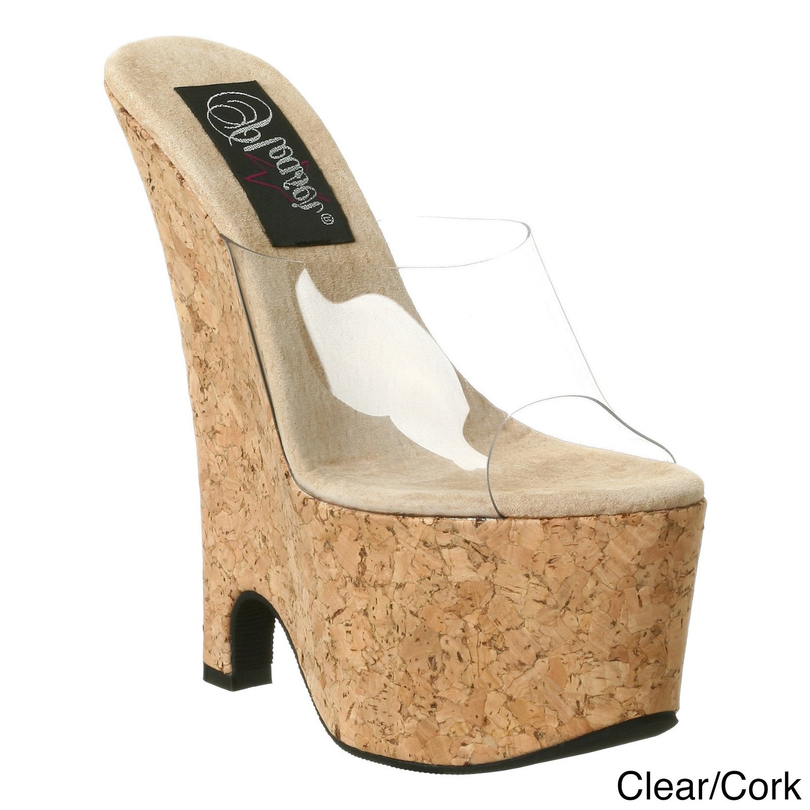 Pleaser Women's 'Beau-601' 6.5-inch Wedge Sandals (Clear/...