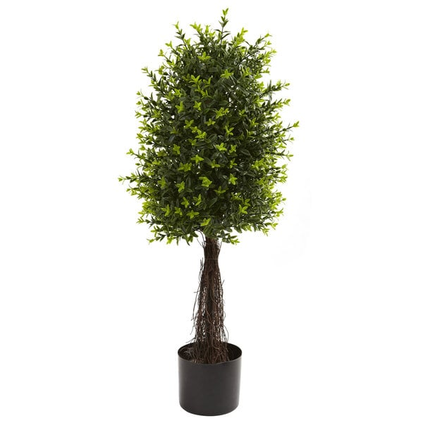 Nearly natural 35 inch ixora topiary uv resistant indoor for Outdoor decorative plants