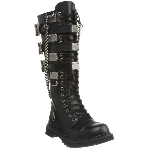 Demonia Men's 'Gravel-23' Black 3-buckle Leather Combat Boots ...