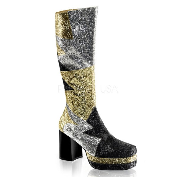 Funtasma Men's 'Glamrock-116' Glittery Platform Knee-high Boots