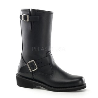 Demonia Men's Black Leather Rockability Engineer Mid-calf Boots