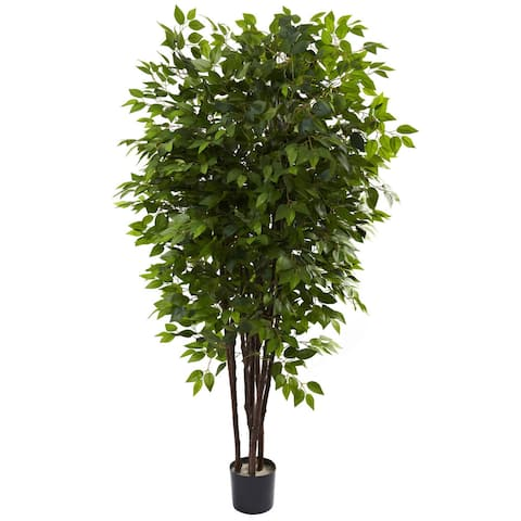Nearly Natural 6.5-foot Deluxe Ficus Tree Decorative Plant - Green