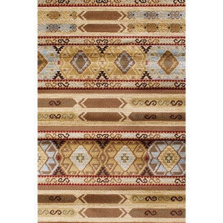 Ikat Tribal Brown Abstract Area Rug (5'5 x 7'8)