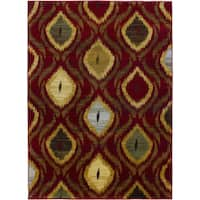 "Ikat Passion Red Red Abstract Area Rug (5'5 x 7'8) - 5'5"" x 7'8"""