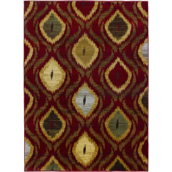 "Ikat Passion Red Red Abstract Area Rug - 5'5"" x 7'8"""