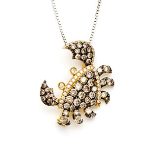 18k Yellow Gold 1ct TDW Brown Diamond Crab Necklace (H-I, SI1-SI2)