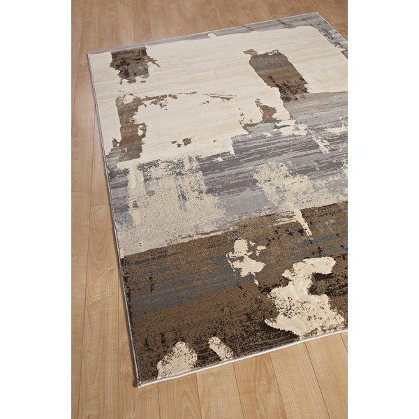 Grunge Cream Light Brown Light Grey Abstract Area Rug 5 5