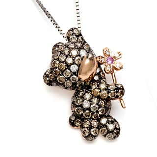 14k Rose Gold 7/8ct TDW Diamond and Sapphire Teddy Necklace (H-I, SI1-SI2)
