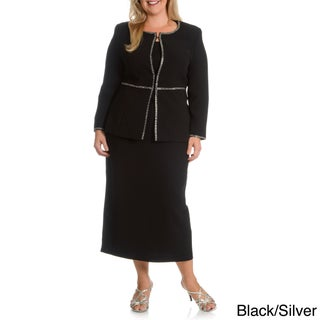 Giovanna Signature Women's Plus Embellished Skirt Suit (3 options available)