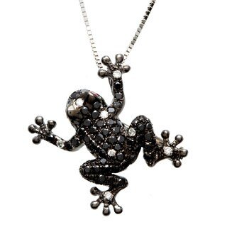 14k White Gold 4/5ct TDW Pave Black Diamond and Sapphire Frog Necklace