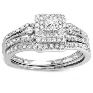 14k White Gold 0.5ct TDW Mixed Cut Diamond Bridal Set