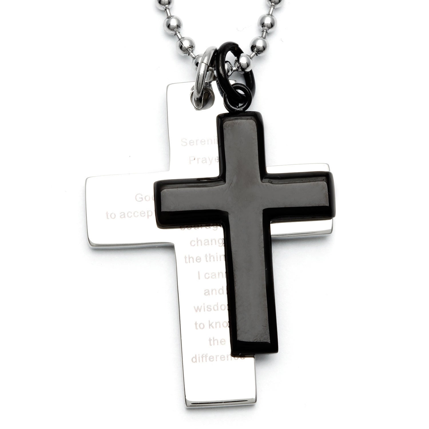 Silvertone Steel and Black-plated Men's Double Cross Sere...