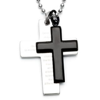 Steel and Black-plated Men's Double Cross Serenity Prayer Necklace