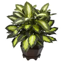 Nearly Natural Triple Golden Dieffenbachia Iron Wood Vase