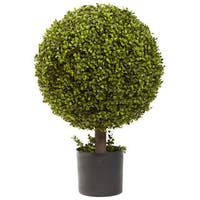 Nearly Natural 27-inch Boxwood Ball Topiary Decorative Plant
