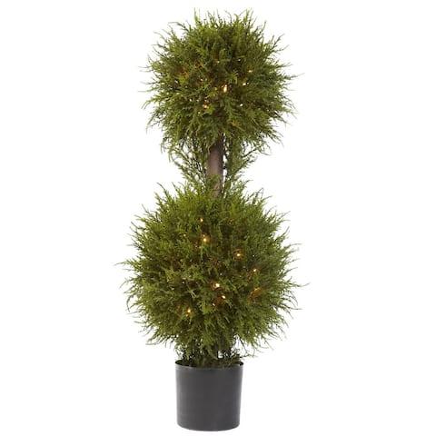 40-Inch Cedar Double Ball Topiary w/Lights - Green