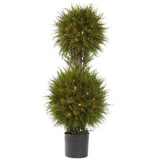 40-Inch Cedar Double Ball Topiary w/Lights