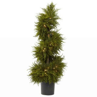 Nearly Natural 43-inch Cedar Spiral Topiary with Lights Decorative Plant