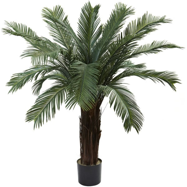 Nearly natural 4 foot cycas tree uv resistant indoor for Indoor decorative plants