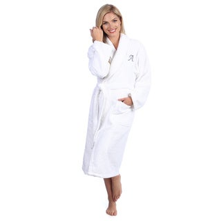 Authentic Hotel and Spa Unisex Turkish Cotton Terry Bath Robe with single letter Grey Monogram