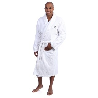 Authentic Hotel and Spa Unisex Turkish Cotton Terry Bath Robe with single letter Grey Monogram (More options available)