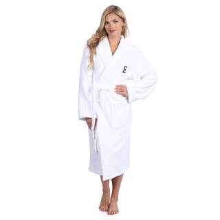 Authentic Hotel and Spa White With Black Monogram Turkish Cotton Unisex Terry Bath Robe (More options available)