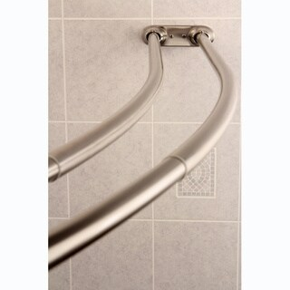 Curved Adjustable Double Shower Satin Nickel Curtain Rod - Satin Nickel