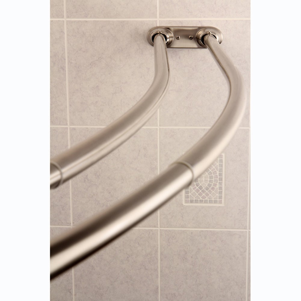 Curved Shower Rod Double Adjustable Curtain Satin Nickel