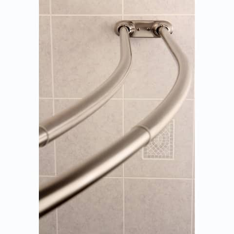 Curved Adjustable Double Shower Brushed Nickel Curtain Rod - N/A