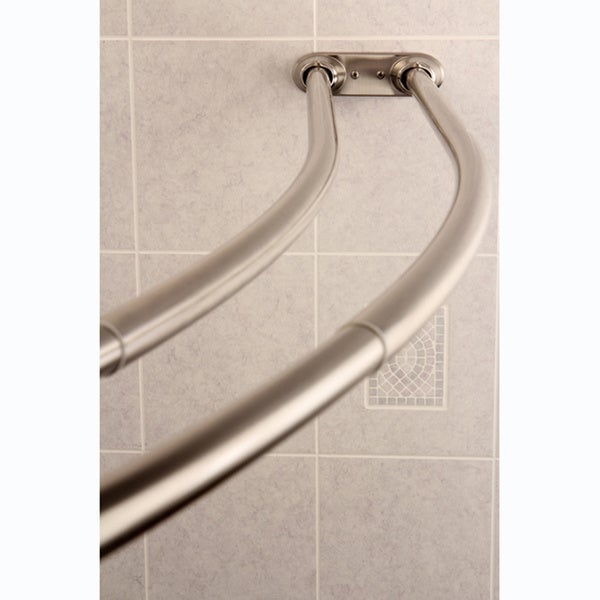 Curved Adjustable Double Shower Satin Nickel Curtain Rod - Free ...