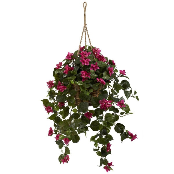 Who Has Hanging Flower Baskets On Sale : Bougainvillea silk hanging basket free shipping today
