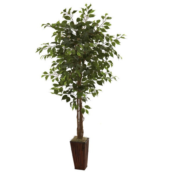 Nearly Natural 6-foot Ficus Tree and Bamboo Planter