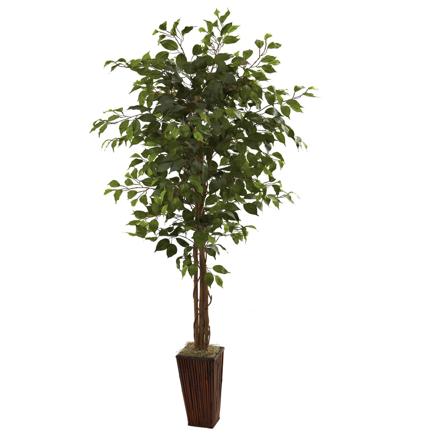 Nearly Natural 6-foot Ficus Tree and Bamboo (Green) Plant...